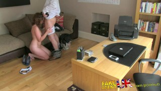 FakeAgentUK Attractive redhead gets surprise creampie in fake casting  homemade british dick-riding fakeagentuk audition amateur blowjob cumshot red-head casting hardcore office reality bubble-butt interview doggystyle
