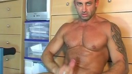 This muscle dude with huge cock get wanked in spite of him hy our assistant
