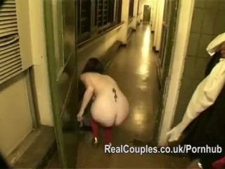 Suspender Thong Couple have sex on a public stairwell then she walks naked home
