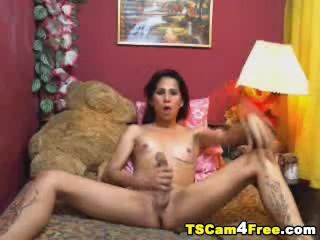 Monster Hard Cock Tranny Masturbation and Self Suck