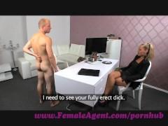 FemaleAgent. Nervous stud caught in agents web