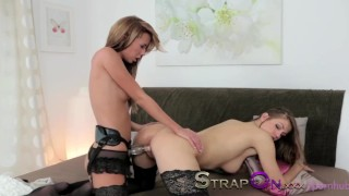 StrapOn Natural sexy lesbians enjoy sex toy together  porn for women female orgasms sex-toy natural strapon dildo lesbians female-friendly strap-on orgasms natural-tits girl-on-girl czech romantic adult toys