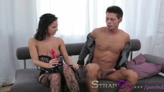 StrapOn Pegging masterclass from black haired beauty  strap on ass fuck pegging his ass female orgasms ass fucking pegging natural strapon dildo orgasms european romantic adult toys sex toy female friendly