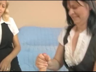 Mature Handjob Tube — Double Mature Handjob