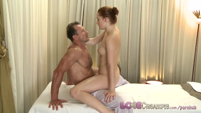 Made to spread pussy wide open Love creampie young redhead is stretched wide open and fucked by big cock