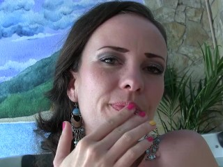 Sylvia Chrystall's masturbation in front of the jacuzzi. HD
