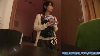 PublicAgent Tiny Japanese pussy filled with big cock Tight masturbating