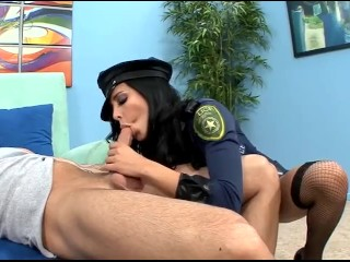 Busty babe in uniform and thigh high fishnet stockings getting fucked