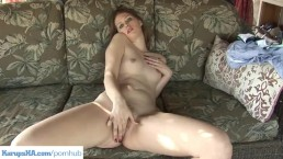 Redhead Angie Tyler Fingering Pussy On Patio