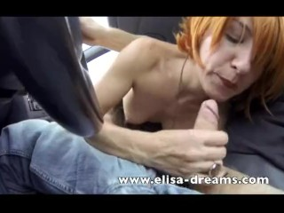Nude Girls Dildo Fucking, Naughty blonde flashing tits and doing Blowjob Blowjob Public Red Head