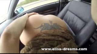 Naughty blonde flashing tits and doing blowjob