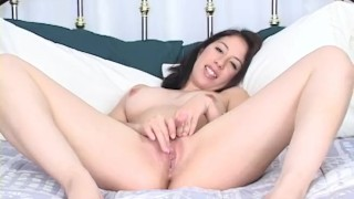 Sexy Brunette with perfect hand full tit's fingers herself.