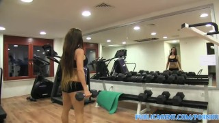 Pubilcagent with big tits sex with brunette gym workout instructor