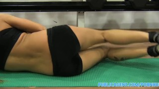 PubilcAgent Gym sex with brunette with big tits Wife ass