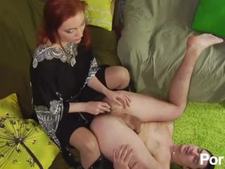 Redhead mistress fucks guy