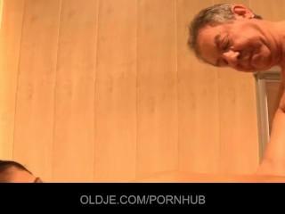 Old man helps masturbating chick to finish