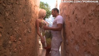 Blonde Teen Fucks Tourist in Alley