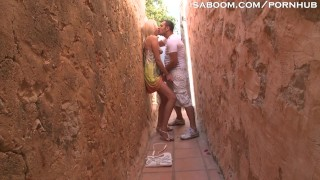 Alley in blonde teen tourist fucks doggy outside