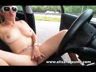 Blonde Big Tits Ass Blonde Driving Naked And Masturbating
