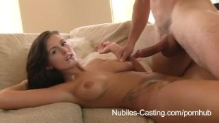 Nubiles Casting - Chérie à gros nichon dans un essai porno se termine avec une bonne faciale