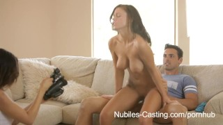 Nubiles Casting - Porn tryouts for busty babe ends with gooey facial porno