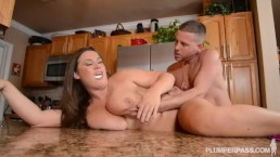 Busty Pornstar Nikki Smith Fucks Hsbbys Friend in Kitchen