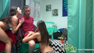 Dare Dorm - Two college girls help a guy get over his cheating ex