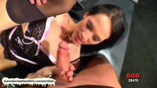 Beautiful brunette sucked cocks and balls and got pussy pounded