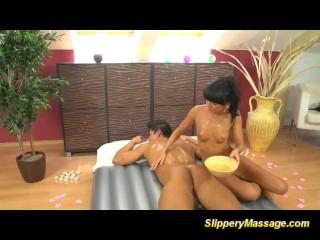 slippery nuru massage orgasm with Gina Devine
