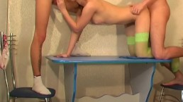 Adorable amateur teen getting fucked by horny guys