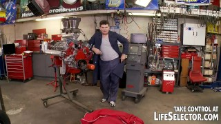 The mighty mechanic fucks sexy, horny babes Pussylicking doggystyle