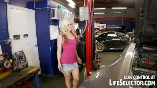 The mighty mechanic fucks sexy, horny babes Hacked pussy