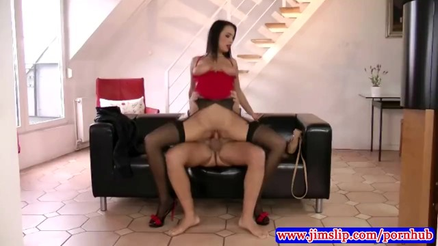 Jim slip louise anal Stockings brunette fucked by old geezer