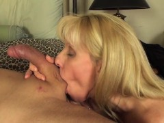 Son shoots cum all over moms ass
