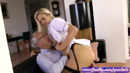 Blonde nurse fucking an old man
