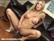 Beautiful Allison Pierce sucking and fucking brutal dildos