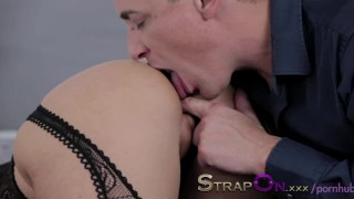 StrapOn Double pentration for sexy blonde and cumshot for finish dildo sensual natural female friendly orgasms blonde strapon dp double penetration strap on sex toy romantic female orgasms adult toys