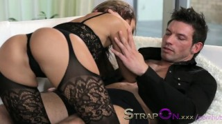 StrapOn Brunette babe pegging her boyfriends ass  female orgasms sex-toy pegging strapon kissing dildo female-friendly strap-on sensual ass-fuck orgasms czech ass-fucking small-tits romantic adult toys