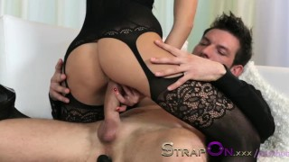 StrapOn Tattooed guy is pegged by his sexy brunette girlfriend  female orgasms sex-toy pegging natural strapon dildo female-friendly strap-on sensual ass-fuck orgasms czech ass-fucking small-tits romantic adult toys
