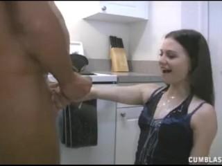 Hot Teen Brunette Jerking A Naked Man