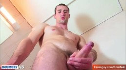 Straight guy exposed under a shower: Guillome get waked his huge cock!