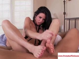 Veronica Avluv has her feet jizzed on