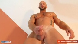 Sport guy serviced: This french guy get wanked his huge cock by us!