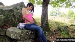Teen Natasa masturbate outdoors
