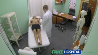 FakeHospital Hot girl with big tits gets doctors treatment Job throat