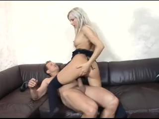 Petite blonde fucking and getting dped in stockings and a garter belt