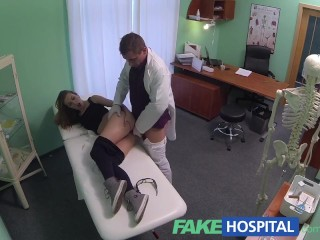Cold 20s gymnast seduced by a doctor and a creampie