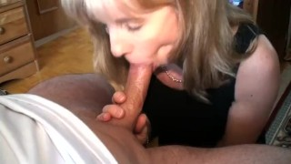 Sucking a 23 year old cock Mom blowjob