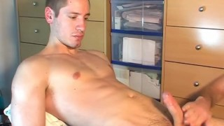 Ange: a real sexy french sport guy get wanked his huge cock by us! Hot gay