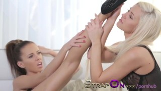 StrapOn Pussy Pump and Strap on with Tracy Lindsay and Gina Devine  sex-toy homemade natural strapon adult-toys dildo blonde female-friendly strap-on orgasms pussy czech babes small-tits romantic female-orgasms sensua